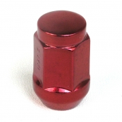 Matice na alu kola M12x1,25 červená, kužel, klíč 19, výška 34 mm, uzavřená