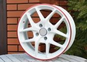 Alu kola Racing Line X8, 16x6.5 5x108 ET50, Bílá + červené leštění