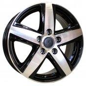 Alu kola Mille Miglia MM100, 16x6.5 5x130 ET55, černá + leštění (zátěžová)