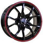Alu kola Racing Line A5392, 15x6.5 4x100 ET35, černá s červenou linkou
