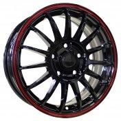 Alu kola HRS M31, 15x6 4x100 ET40, černá s červenou linkou