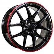 Alu kola Racing Line MB509, 17x7.5 5x112 ET45, černá s červenou linkou