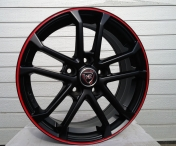Alu kola Racing Line SH651, 16x6.5 5x108 ET50, černá matná s červenou linkou