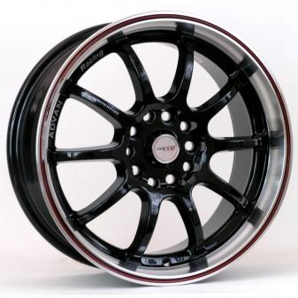 Alu kola Racing Line DW830, 17x7 10x110 ET40, černá s červenou linkou