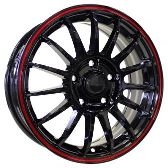 Alu kola Racing Line M31, 16x6.5 4x100 ET36, černá s červenou linkou