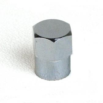 Ventilová čepička kovová chromovaná šestihran vysoká
